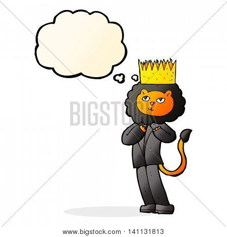 cartoon king of the beasts with thought bubble