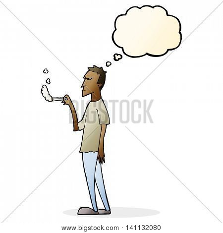 cartoon annoyed smoker with thought bubble