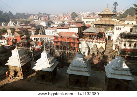 NEPAL KATHMANDU 16TH OF DECEMBER 2013 - View of Pashupatinath - hindu temple situated on the bank of holy Bagmati River in Kathmandu - Nepal