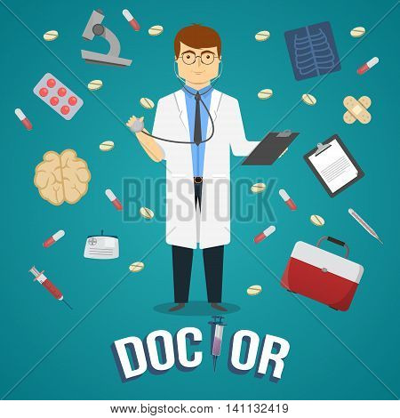 Doctor and medical objects design of man with clipboard and professional instruments on blue background vector illustration