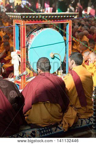 NEPAL KATHMANDU - DEC 17 Boudhanath stupa -17th of December 2013: meditation of Tibetan Buddhist Monks during festival
