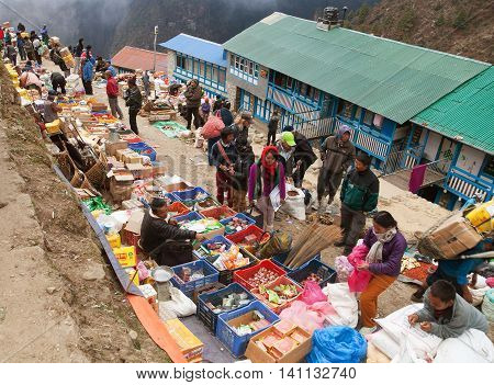 NEPAL NAMCHE BAZAR 13th MAY 2016 - bazaar in Namche Bazar village there is center of Khumbu Valley Sagarmatha national park Nepal