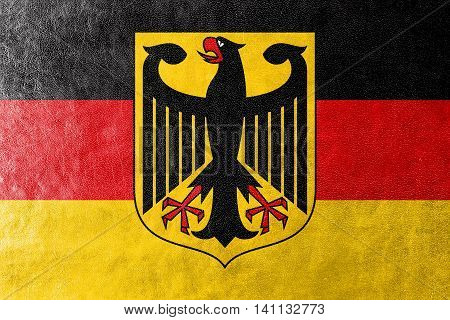 Flag Of Germany With Coat Of Arms, Painted On Leather Texture