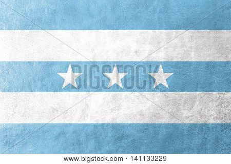 Flag Of Guayaquil, Ecuador, Painted On Leather Texture