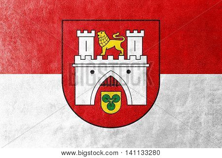 Flag Of Hanover, Germany, Painted On Leather Texture