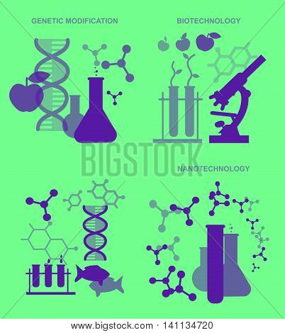 Concept for Biotechnology, genetic engineering and nanotechnology. Vector illustration