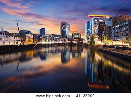 Panorama of the Media harbor in Dusseldorf during sunset