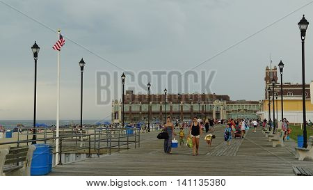 ASBURY PARK, NJ - JUL 16: Boardwalk at the beach at Asbury Park in New Jersey, as seen on July 16, 2016. It has been ranked as one of the best beaches in New Jersey.