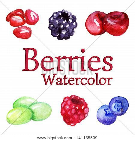 Watercolor pomegranate blackberry cherry grape raspberry blueberry set isolated vector