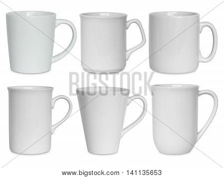 White Cups Set Isolated On White With Clipping Path