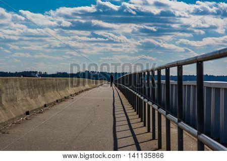 Walking Along Lake Murray Dam South Carolina USA