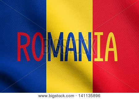 Flag of Romania waving in the wind with detailed fabric texture. Romanian national flag. Word Romania.