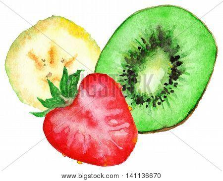 Watercolor banana kiwi strawberry fruit set isolated vector