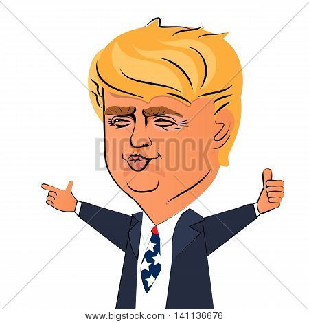 August 03 2016 Ukraine. Character portrait of Donald Trump giving a speech. Positive caricature of a prominent politician billioner who is running for President. American flag tie.