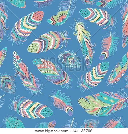 Feathers Boho Seamless Pattern. Tribal Ethnic Background Texture. Clothing Design, Wallpaper, Wrapping. Vector Indian Ornament.