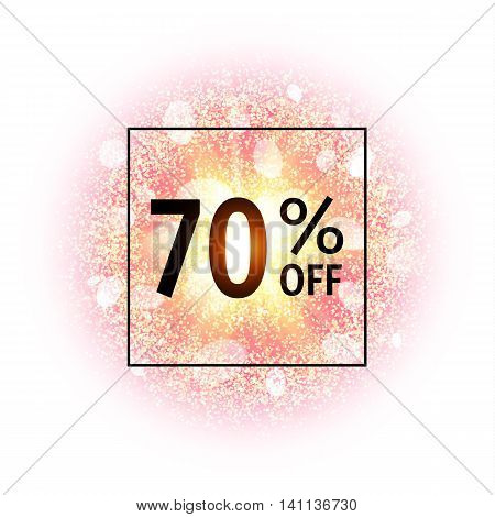 Sale banner 70 percents off. Abstract explosion with gold glittering elements. Burst of glowing star. Dust firework light effect. Sparkles splash powder background. Vector illustration.