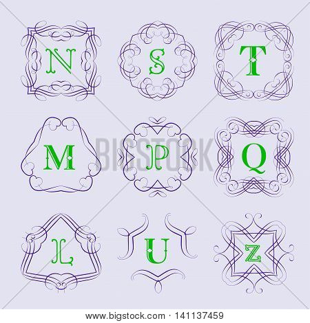 Monogram logo template with calligraphic elegant ornament. Identity design with letter S, T, M, P, Q, L, U, Z for shop, store or restaurant, heraldic, barbershop