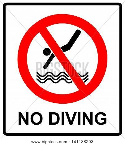 No diving sign. Vector prohibition symbol isolated on white in red circle for public swimming places like beaches, pool.