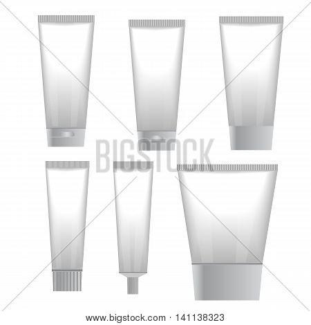 Blank white cosmetic tube isolated on white background. Set of tube cream. Vector illustartion
