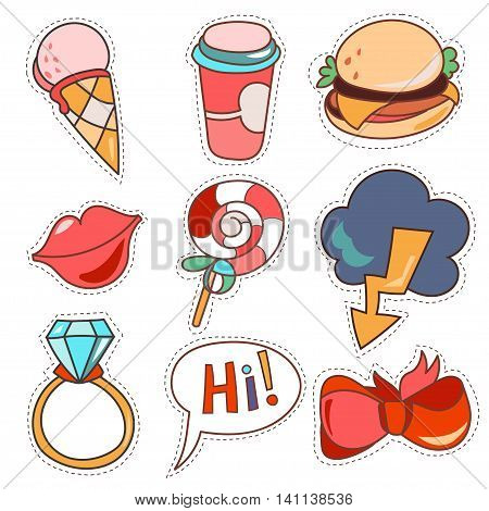 Set cartoon patch badges or fashion pin badges. Candy, cloud, cup, cloud, ring, lips, ribbon, ice cream, burger, hi hand drawn vector full color sketch