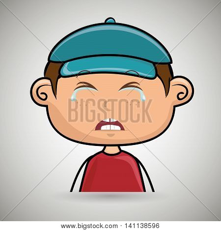 crying cartoon vector illustration child over a white background