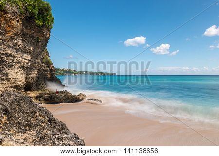 Dreamland beach in Bali Indonesia. Longexposure shot