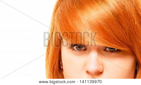 Beauty skincare and haircare. Woman care concept. Red haired young female portrait isolated on white