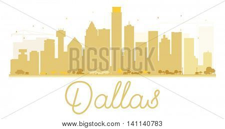 Dallas City skyline golden silhouette. Vector illustration. Simple flat concept for tourism presentation, banner, placard or web site. Business travel concept. Cityscape with landmarks