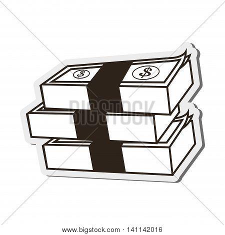 flat design dollar bills icon vector illustration