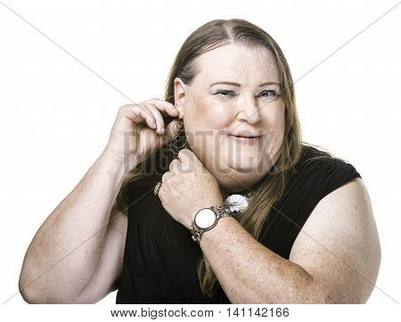 Closeup Of Transgender Woman Adjusting And Earring