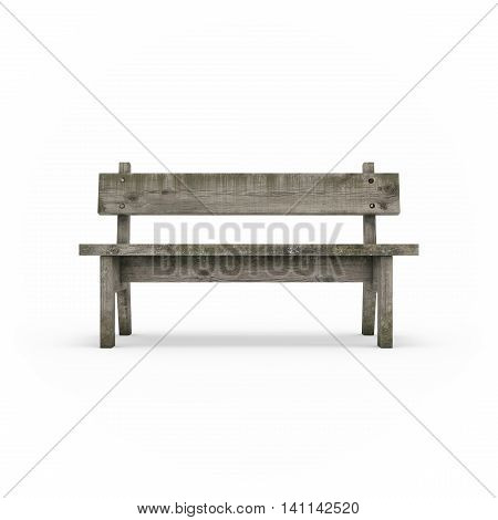 Ancient rural bench from logs. Roughly hammered together wooden bench. Isolated on white background 3d rendering.