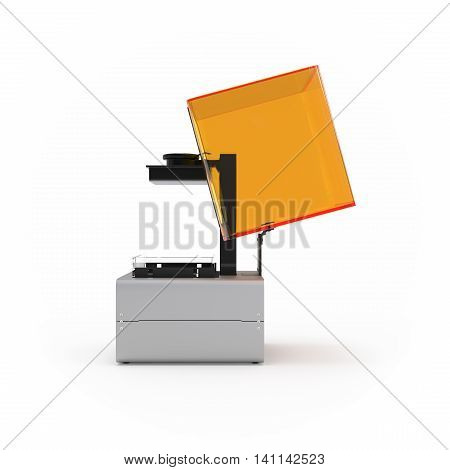 Stereolithography printer 3d rendering isolated on white background
