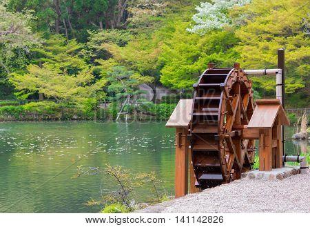 Wooden water turbine used for Renewable Energy