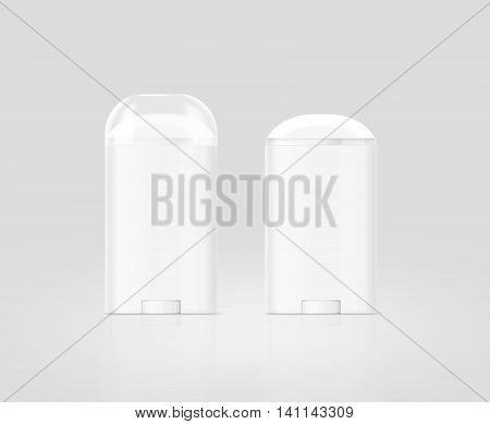 Blank white deodorant stick bottle mockup set isolated clipping path 3d illustration. Antiperspirant flacon design mock up. Cosmetic skincare packaging flask template. Deodorizer plastic stick.