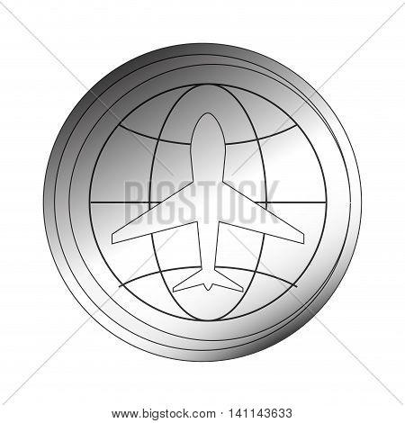 flat design aeronautical emblem icon vector illustration