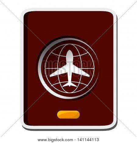 flat design closed passport icon vector illustration