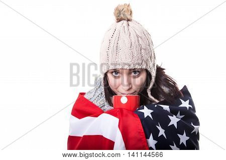 Isolated Image Young Woman With Blonde Long Hair In American Flag Stand Tiptoe On A White Backgrund