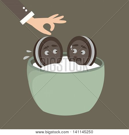 two cookies, biscuit characters, afraid put into milk, funny expression vector