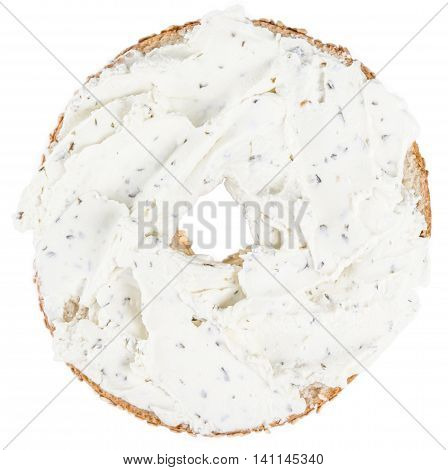 Fresh Made Cream Cheese Bagel (isolated On White)