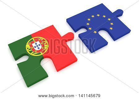 Portugal and EU: Puzzle Pieces Portuguese flag and EU Flag 3d illustration