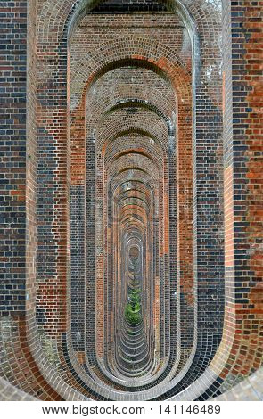 Brickwork in victorian viaduct arches and columns