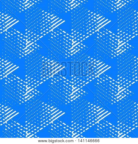 Vector bold seamless pattern with dynamic diagonal crossing lines and stripes in bright blue, white colors. Geometric striped modern print in 1980s style for textile design. Abstract techno background