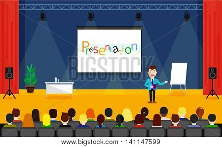 Public Speaking concept. Business Training vector illustration. Speaker in a suit and with microphone standing near flipchart.