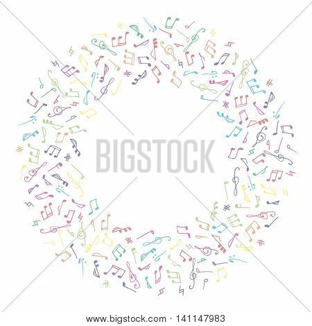 Circle colorful music frame in doodle style on white background. Hand drawn musical theme frame with clef and note for greeting card, postcard, invitation, banner, flyer, poster. Vector illustration.