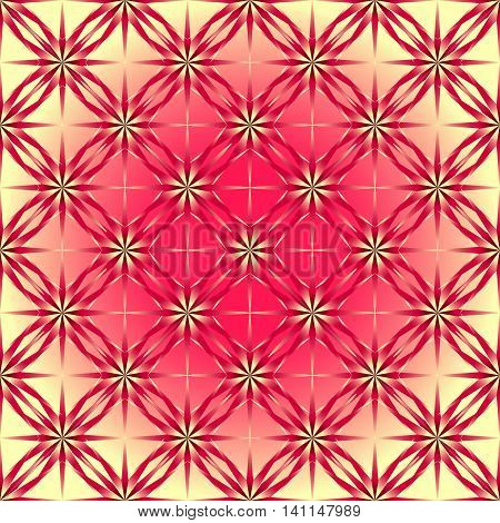Geometric pattern of roses. The yellow-pink lily on iridescent background pattern for