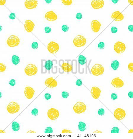 Cute seamless grunge childish pattern of the crayon yellow and blue stains on white background. Design element for background, textile, paper packaging, wrapping paper and other. Vector illustration.