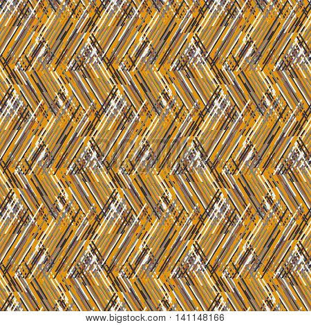 Vector geometric seamless pattern with lines and zigzags in multiple organic brown colors. Striped modern bold print in 1980s retro style for summer fall fashion. Abstract techno chevron background