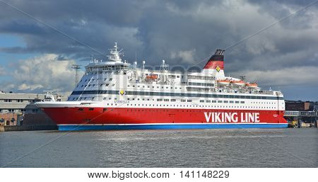 HELSINKI FINLAND SEPTEMBER 25 2015: Viking Line is a Finnish shipping company that operates a fleet of ferries and cruiseferries between Finland, the Aland Islands, Sweden and Estonia.