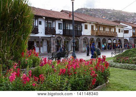 Plaza De Armas, Garden In Cusco