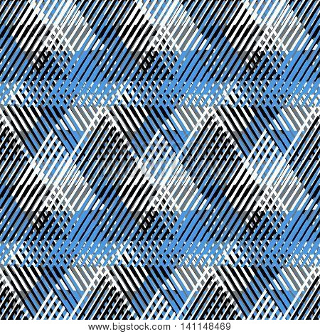 Vector geometric seamless pattern with lines and overlapping triangles in black, white blue. Striped modern bold print in 1980s style for summer fall fashion. Abstract dynamic tech chevron background